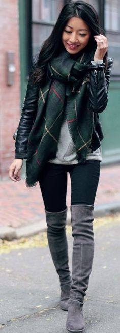 Dark Casual Layers Fall Inspo by Extra Petite - gray suede over the knee boots
