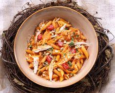 roasted red pepper and basil pesto penne.