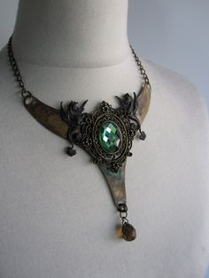 Fantasy Medieval Gothic Witch Mermaid Necklace Winged by Ravennixe, $89.00
