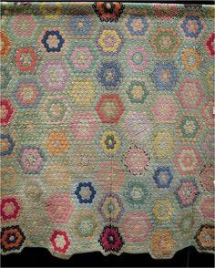 Quilt Inspiration: Grandmother's Flower Garden. Antique Grandmother's Garden quilt exhibited by Alicia French, 2013 AZQG