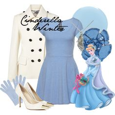 Cinderella Winter by amarie104 on Polyvore featuring Burberry, Sole Society, John Lewis, NYX, RGB and Disney