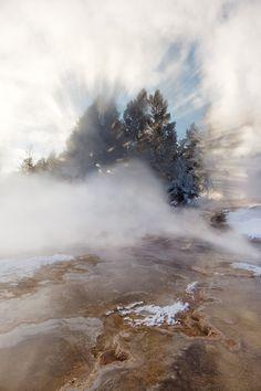 Hot Springs Sunburst...Early morning sun bursts through snow-covered trees on hot springs steam.