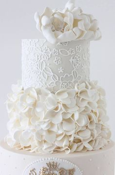 Beautiful Cake Pictures: White Petals Bottom Tiered Wedding Cake : Wedding Cakes, White Cakes