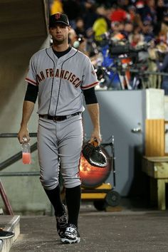 Brandon Belt #9 of the San Francisco Giants walks in the dugout prior to Game Three of the Major League Baseball World Series against the Detroit Tigers at Comerica Park on October 27, 2012 in Detroit, Michigan