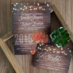 rustic wooden string light mason jar fall wedding invites EWI395