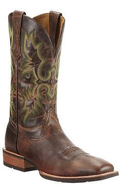 Ariat® Tombstone™ Men's Weathered Chestnut Brown Square Toe Western Boot | Cavender's Boot City...maybe a gift for Derek