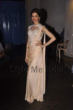 Deepika Padukone in a Sonaakshi Raj http://sonaakshiraaj.in/ Couture Saree Gown on the sets of Indian Idol