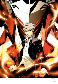 The main character of Persona 4 with Izanagi. Persona 4 Manga, Persona Q, Yu Narukami, Shin Megami Tensei Persona, Money Pictures, Akira Kurusu, Good Smile, Festival Outfits, Mobile Wallpaper