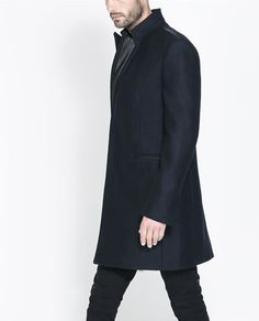 ZARA - MAN - CONTRASTING FAUX LEATHER OVERCOAT