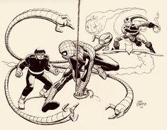 Original Comic Art titled Spidey vs Doc Ock & Green Goblin by John Romita Jr. , located in Paul's John Romita Jr. Marvel Comic Universe, Comics Universe, Marvel Comics, Comic Book Artists, Comic Artist, Comic Books Art, Jim Lee, Amazing Fantasy 15, John Romita Jr