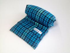 """Microwave FLAX HEATING PAD, large 8 X 18 in  Removable/Washable brushed Flannel ,Turquoise Plaid, Great Gift, 100% flax seed """"The FLaX SaK"""""""
