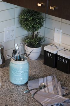 """Amazon.com: Wide Mouth Mason Jar Utensil Holder by Comfify - Decorative Kitchenware Organizer Crock, Chip Resistant Ceramic, Dishwasher Safe - Perfect Cookware Gift - Aqua Blue, Large Size 7"""" High w/ 4"""" Mouth: Kitchen & Dining"""