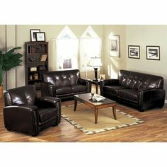 Melrose Bonded Leather Sofa and Chair Set by Hokku Designs. $1176.98. EL-CM6575-S / EL-CM6575-CH Features: -Tight button-tufted back.-Wide track arms and high density foam cushions.-Double-doweled and corner-blocked for exceptional strength and stability. Includes: -Set includes sofa and chair. Options: -Upholstered in dark espresso bonded leather. Construction: -Solid wood construction. Assembly Instructions: -Assembly required.