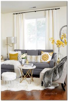 Grey and yellow colour schemes | Living room grey, Living rooms and Grey