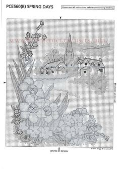 spring   3 Cross Stitch Landscape, Cross Stitch Patterns, Crafts, Passion, Embroidery, Spring, Free, Cross Stitch, Needlepoint