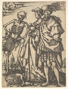 Allaert Claesz. (Dutch, active 1520–55). Couple and Death with a Drum, from The Dance of Death. The Metropolitan Museum of Art, New York. Bequest of Phyllis Massar, 2011 (2012.136.771).