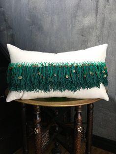 Green Fringe Tassel Moroccan Inspired Pillow | Boho Pillow | Brass Coins | Handira | Cream Cotton | Fringe | Tassel | African