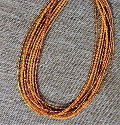 Orange silver multi-strand multi-color necklace by KConklinJewelry on Etsy