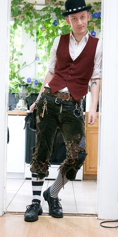 Kinda cool...but I would have distressed the vest or shirt too--like the distressing on the pants, though