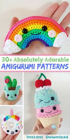 These are seriously the cutest amigurumi! I want them all! Check out the SuperCuteDesignShop on Etsy | Crochet patterns | Amigurumi patterns available for instant digital download #ad #amigurumi #etsyfinds
