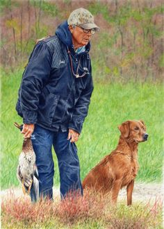 """""""Janet and Keeper"""" A watercolor portrait of a scene at a hunt test."""