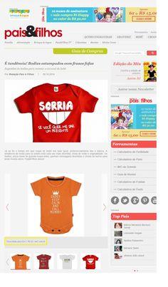 Um bodie divertido para bebês, da Elo7, foi publicado no Portal da Revista Pais & Filhos.