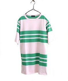 CLASS 40/2天竺マルチボーダーTシャツ Portknit(PINK/GREEN) - FLORAISON