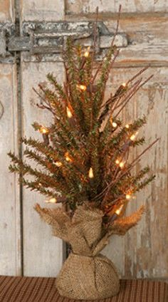 New Primitive Country Christmas Burlap German Twig Pine Tree With White Lights
