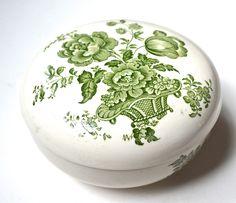 Charlotte Floral Green Transferware Vintage English Transferware BATH Jar / Powder Dish / Canister Soap Dish Basket of Roses