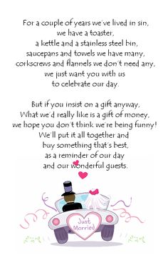 Wedding Gift Poems Charity : Wedding Money Poem, Big Wedding, Wedding Gift Request, Wedding Gift ...