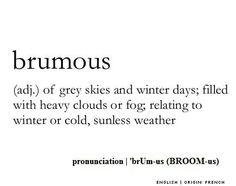 Brumous - #Wordporn -  Midden 19de eeuw - Van het Franse woord brumeux, van het Latijnse woord brumosus.
