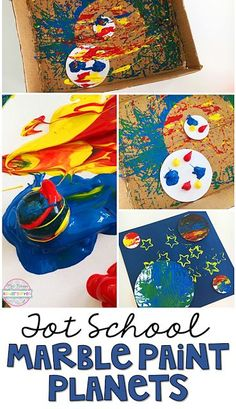 Tot School: Space These mess free marble paint planets are perfect for a space theme in tot school, preschool, or the kindergarten classroom. Space Theme Preschool, Space Activities, Creative Activities, Preschool Activities, Health Activities, Planets Preschool, Creative Play, Aliens, Outer Space Theme