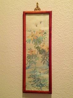 Vintage Framed Under Glass Asian Print Yellow Flowers with Bees by esmeelynne on Etsy