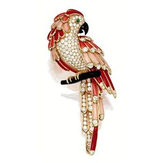 Coral, emerald, diamond and onyx parrot brooch, Van Cleef