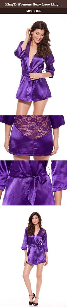 King'D Womens Sexy Lace Lingerie Sleepwear Nightwear With Thong Purple XXX-Large. Women Sexy Lingerie hot Lace Transparent Machine wash cold,gentle cycle Package?1 lingerie + 1 g-string.