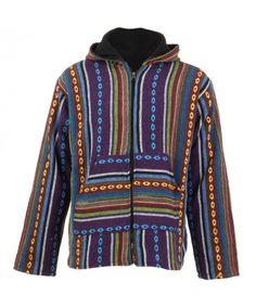 LOUDelephant Fleece Lined Woven Zip Hoodie - Purple, Red & Yellow