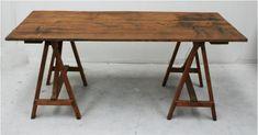 French 19th Century Studio Trestle Work Table