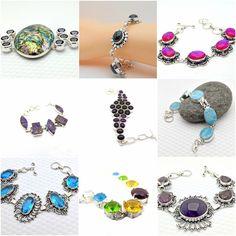 Natural Gemstone Bracelets Jewellery Ladies Handmade Antiqued Sterling Silver
