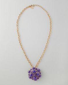 Cabochon Brooch-Pendant Necklace, Purple by Oscar de la Renta at Neiman Marcus. 34-inches long. 585$