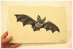 """""""bat"""" woodcut print. by paul roden = valeris lueth, 2007"""