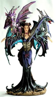 """COLLECTIBLE FAIRY WARRIOR FIGURINE STATUE WITH 2 DRAGONS ON SHOULDERS 10"""" A91276"""