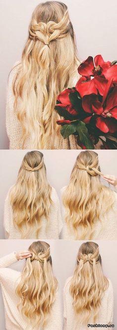 Super Easy DIY Braided Hairstyles for Wedding Tutorials Herzform-Haar-Tutorial (Kassinka) / www. Braided Hairstyles For Wedding, Braided Hairstyles Tutorials, Trendy Hairstyles, Girl Hairstyles, Hairstyle Ideas, Wedding Hairdos, Braid Tutorials, Wedding Braids, Waitress Hairstyles For Long Hair
