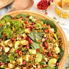 This Wheat Berry and Spinach Salad with Orange-Curry Vinaigrette is perfectly beautiful for any holiday table!
