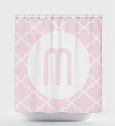 Pink Shower Curtain, Shower Curtain Monogram, Geometric Shower Curtain, Pattern Shower Curtain,Pink Bathroom Accessories, Bathroom Art Decor