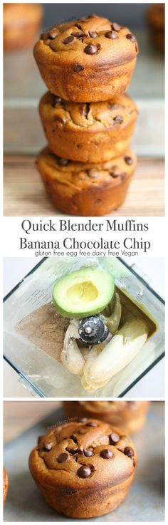 Gluten Free Blender Muffin Recipe Banana Chocolate Chip (dairy free Vegan)- Quick and easy breakfast full of bananas, avocado, and seed butter!