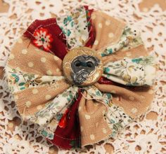 Hand Sewn Rustic Fabric Flower Hair Slide