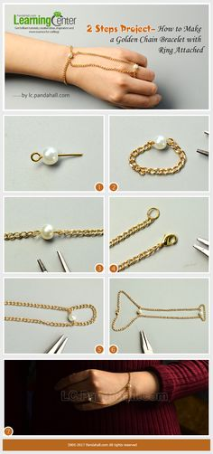 2 Steps Project– How to Make a Golden Chain Bracelet with Ring Attached