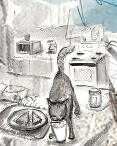 cat finds milk print from original illustration by ImYourNonny, $15.00