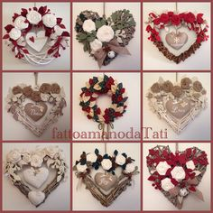 Christmas wreaths, by fattoamanodaTati su misshobby.com Felt Christmas, Christmas Wreaths, Christmas Decorations, Valentine Wreath, Valentines, Heart Wreath, Heart Crafts, Paper Basket, Felt Hearts