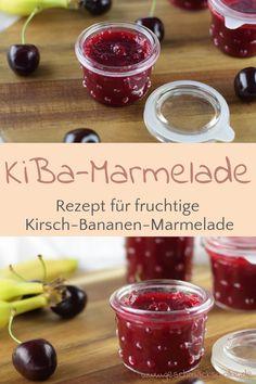 Fruchtige Kirsch-Bananen-Marmelade zum Frühstück - #kirschbananenmarmelade #marmelade #kibamarmelade #kiba #kirschmarmelade #kirschen #bananenmarmelade Pudding, Vegetables, Desserts, Food, Marmalade Recipe, Cherries, Homemade, Food Food, Food Recipes